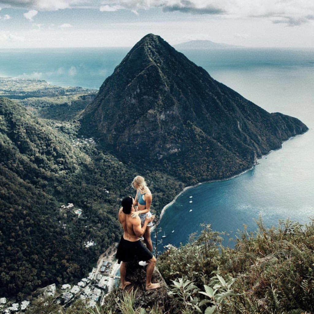 climbing the pitons in St. Lucia