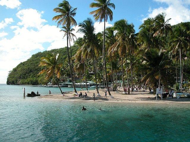 Marigot bay beach in st lucia